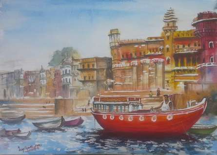 Varanasi series #2: Docked at Varanasi Ghat | Painting by artist Lasya Upadhyaya | watercolor | Paper