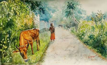 Daybreak in Kerala | Painting by artist Lasya Upadhyaya | watercolor | Paper