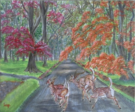 Landscape Acrylic Art Painting title 'Sprinting through the park' by artist Lasya Upadhyaya