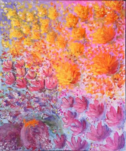Dream Flowers | Painting by artist Lasya Upadhyaya | acrylic | Canvas Board