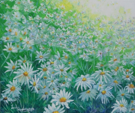 Nature Acrylic Art Painting title 'White flower field' by artist Lasya Upadhyaya