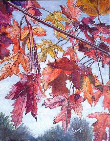 Nature Acrylic Art Painting title 'Fall Colours' by artist Lasya Upadhyaya
