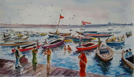 Landscape Watercolor Art Painting title 'Varanasi series#1: Ferries of the Ganges' by artist Lasya Upadhyaya