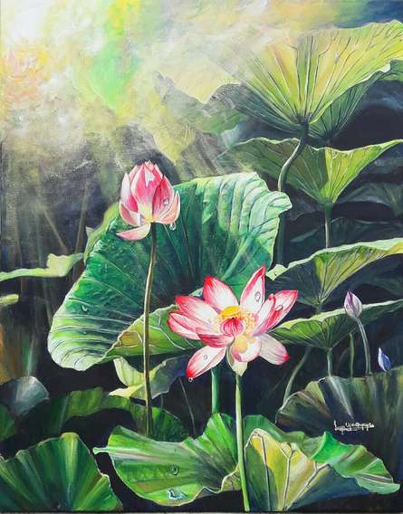 Realistic Acrylic Art Painting title Jewel of the swamp by artist Lasya Upadhyaya