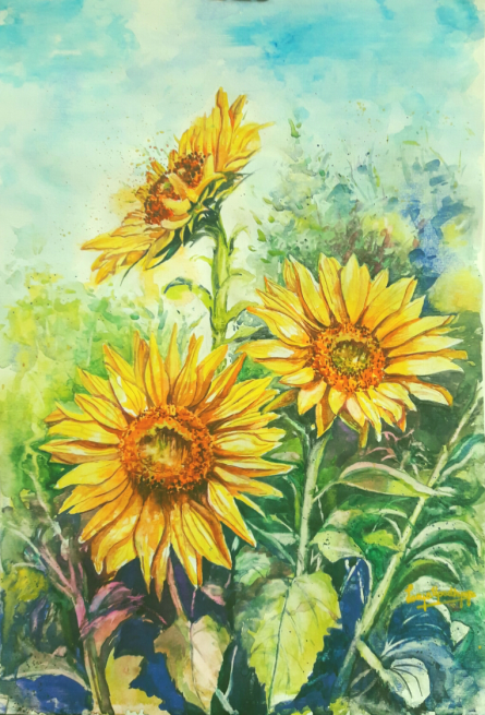 Realistic Watercolor Art Painting title 'Petals of Gold' by artist Lasya Upadhyaya