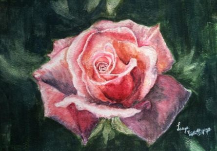 Nature Watercolor Art Painting title Rosy blush by artist Lasya Upadhyaya
