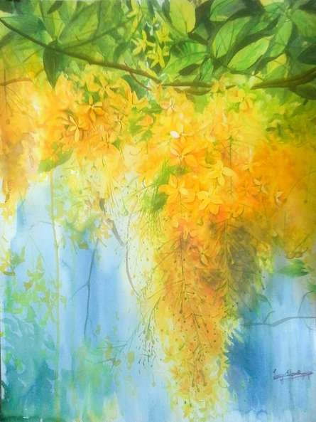 Nature Watercolor Art Painting title Golden shower by artist Lasya Upadhyaya