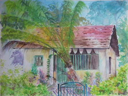 Landscape Watercolor Art Painting title Memories of Shimoga by artist Lasya Upadhyaya