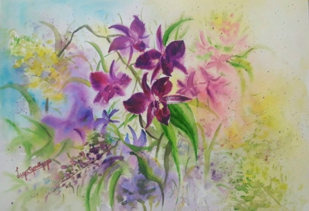 Symphony of orchids 1 | Painting by artist Lasya Upadhyaya | watercolor | Paper