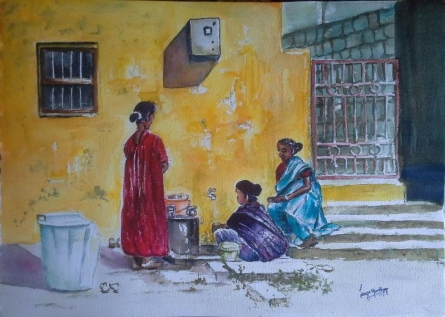 Figurative Watercolor Art Painting title Three friends by artist Lasya Upadhyaya