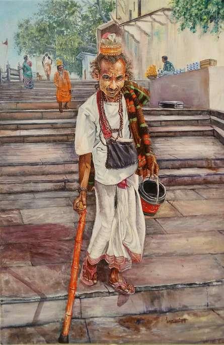 Figurative Acrylic Art Painting title Vagrant in Ganga ghat by artist Lasya Upadhyaya
