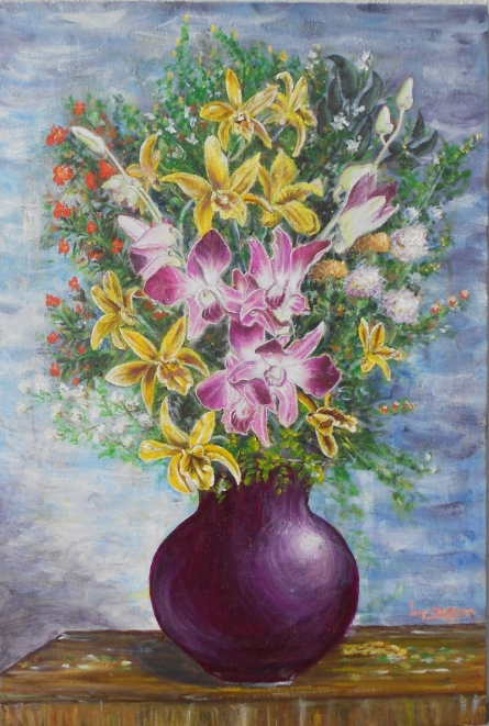 Vase of orchids | Painting by artist Lasya Upadhyaya | acrylic | Canvas Board