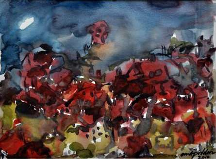 Abstract Watercolor Art Painting title 'Moonlit Village 2' by artist Asit Poddar