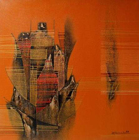 Conquer Orange Abstract | Painting by artist Rahul Dangat | acrylic | Canvas
