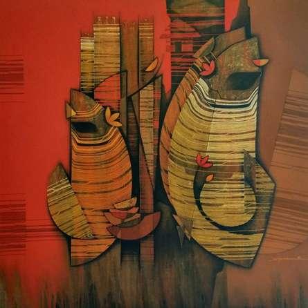 Rahul Dangat | Acrylic Painting title Couple on Canvas | Artist Rahul Dangat Gallery | ArtZolo.com