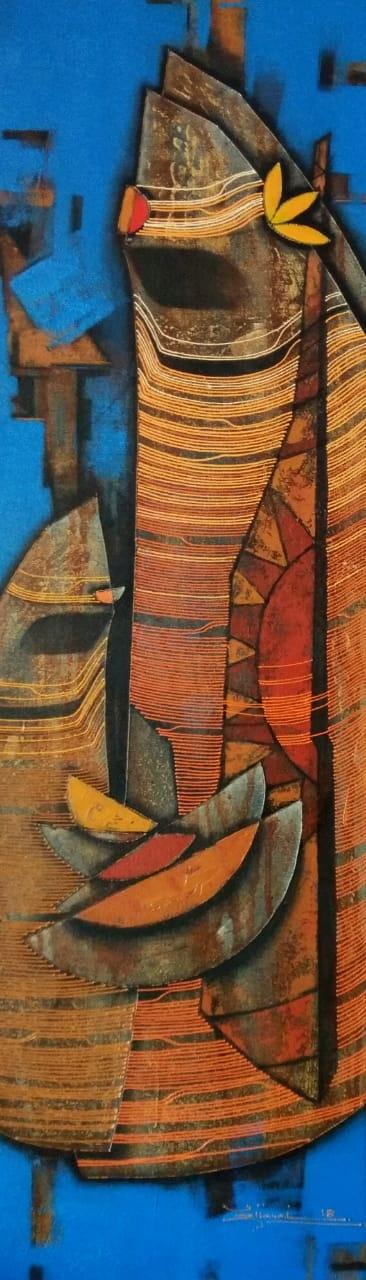 Rahul Dangat | Acrylic Painting title Couple 1 on Canvas | Artist Rahul Dangat Gallery | ArtZolo.com