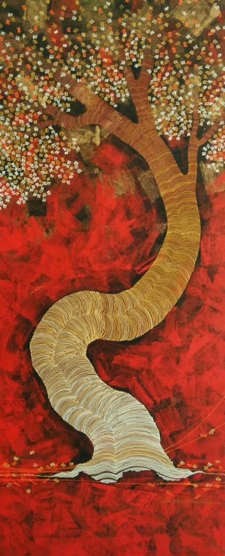 Nature Acrylic Art Painting title 'Tree 2' by artist Rahul Dangat