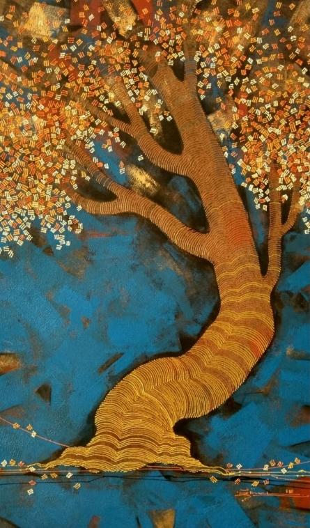 Nature Acrylic Art Painting title 'Tree 5' by artist Rahul Dangat