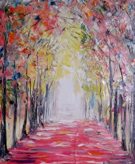 Impressionist Oil Art Painting title 'Autumn1' by artist Kiran Bableshwar