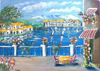 Scenic Oil Art Painting title 'Balcony View' by artist Kiran Bableshwar