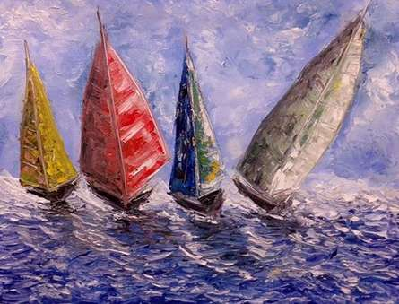 Seascape Oil Art Painting title 'Boats On A Rough Sea' by artist Kiran Bableshwar