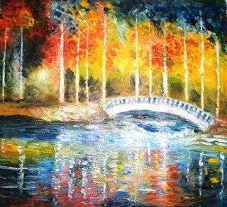 Kiran Bableshwar | Oil Painting title Bridge Over My River on Canvas | Artist Kiran Bableshwar Gallery | ArtZolo.com
