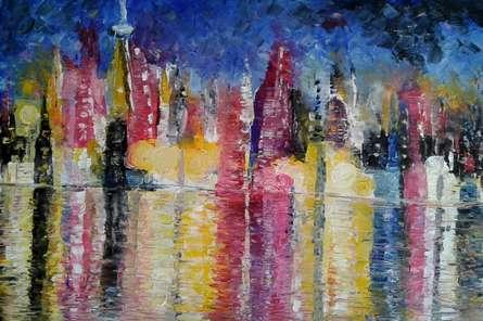 Cityscape | Painting by artist Kiran Bableshwar | oil | Canvas