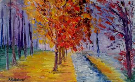 Impressionist Oil Art Painting title 'Cross Country Walk' by artist Kiran Bableshwar