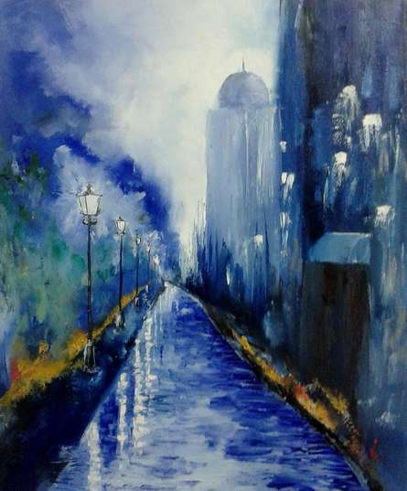 Evening City | Painting by artist Kiran Bableshwar | oil | Canvas