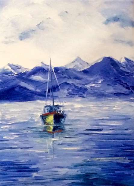 Seascape Oil Art Painting title Fishing Boat by artist Kiran Bableshwar