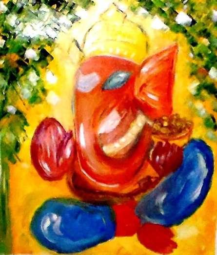 Ganesha | Painting by artist Kiran Bableshwar | oil | Canvas
