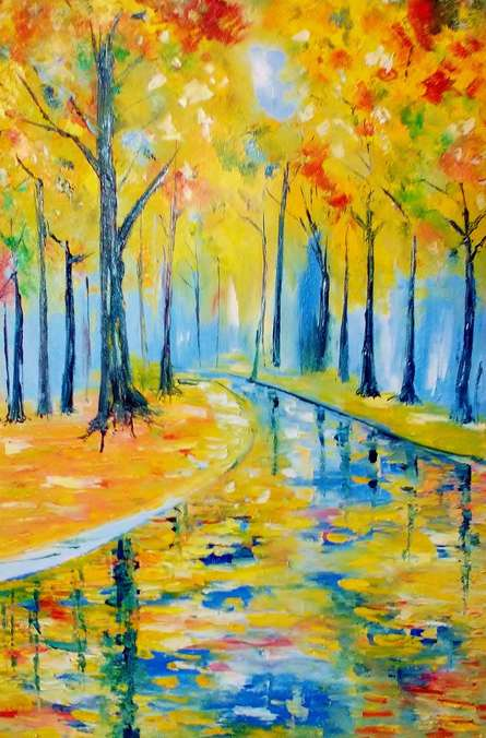 Impressionist Oil Art Painting title 'Summer Woods20x13' by artist Kiran Bableshwar