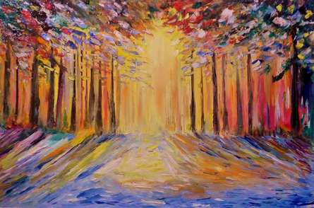 Impressionist Oil Art Painting title 'Sunrise' by artist Kiran Bableshwar