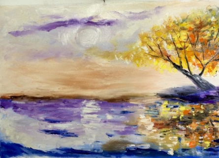 Impressionist Oil Art Painting title Tree at horizon by artist Kiran Bableshwar