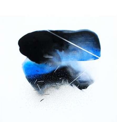 Chunky Blue Abstract | Mixed_media by artist Neeraj Ydava | Canvas