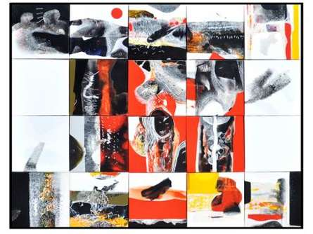 Checkered Abstract | Mixed_media by artist Neeraj Ydava | Canvas