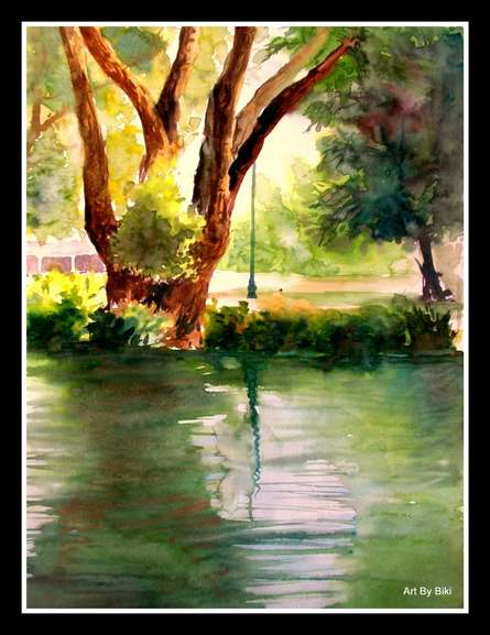 Nature Watercolor Art Painting title Plain Air by artist Biki Das