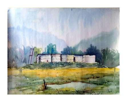 Nature Watercolor Art Painting title Landscape by artist Biki Das