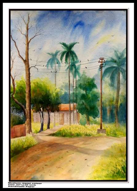 Landscape Watercolor Art Painting title 'One of house And 1 tarning Road' by artist Biki Das