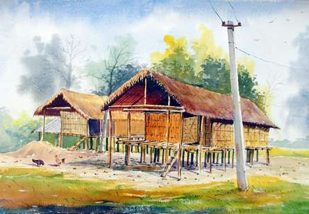 Landscape Watercolor Art Painting title 'Miching Tradition House 2' by artist Biki Das