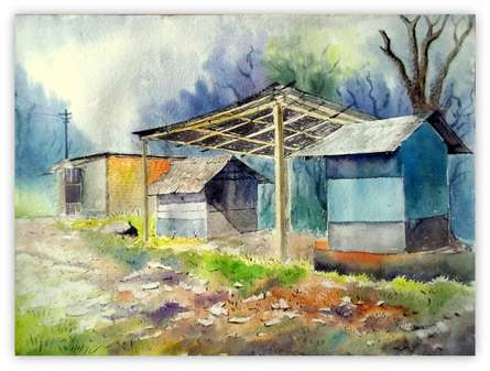 Landscape Watercolor Art Painting title 'Plain air' by artist Biki Das