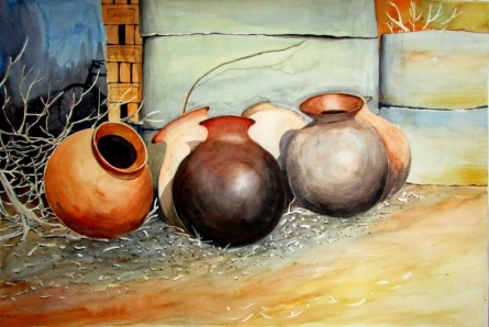 Still-life Watercolor Art Painting title 'Pots composition' by artist Biki Das