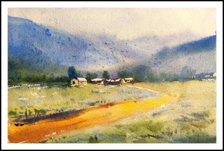 Landscape | Painting by artist Biki Das | watercolor | Paper