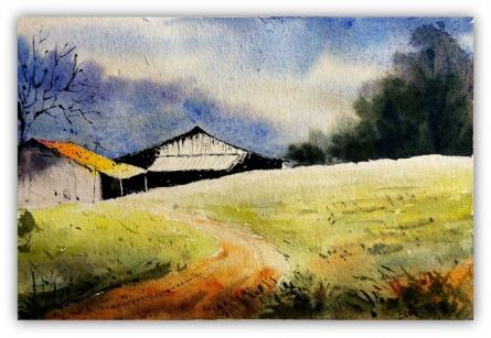 Landscape   Painting by artist Biki Das   watercolor   Paper