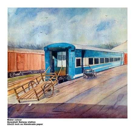 Landscape Watercolor Art Painting title 'Guwahati Railway station' by artist Biki Das