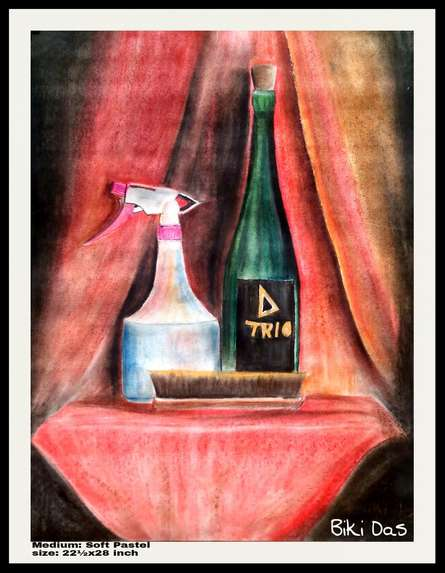 Still-life Dry-pastel Art Painting title 'Only 3 product' by artist Biki Das