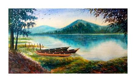 Landscape Watercolor Art Painting title 'A moment of Deepor Bill of Assam' by artist Biki Das