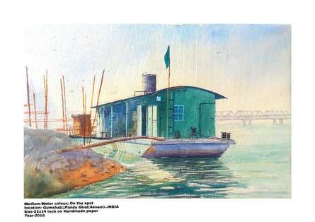 Seascape Watercolor Art Painting title Ferry stoppage by the river bank of Brah by artist Biki Das