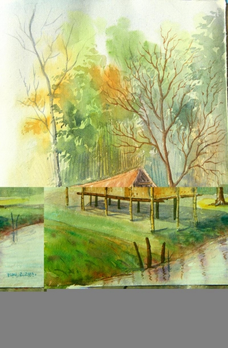 Water colour...On the spot at ASSAM | Painting by artist Biki Das | watercolor | Paper