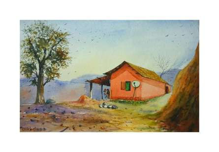 Landscape Watercolor Art Painting title 'Outdoor' by artist Biki Das